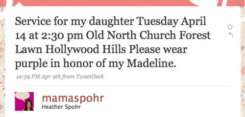 Twitter : Heather Spohr: Service for my daughter